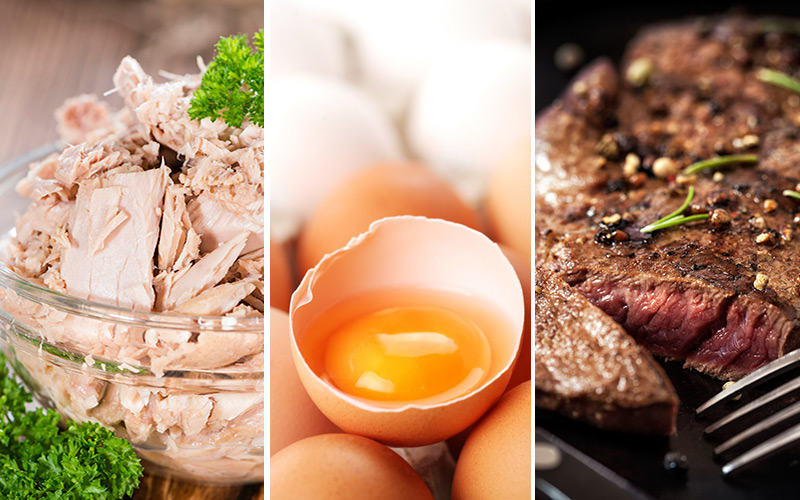 canned tuna, eggs, and sirloin steak are cheap protein sources