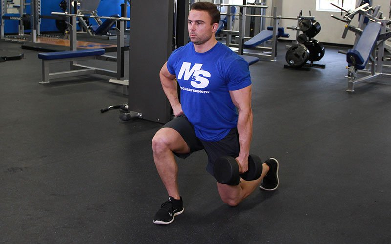 Contralateral Load Dumbbell Front Lunge Video Exercise