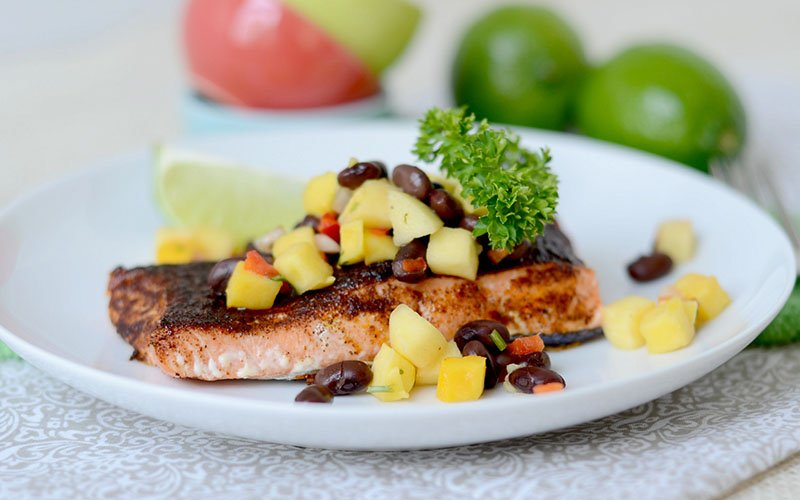 Grilled Chipotle Salmon with Black Beans & Mango Salsa Recipe
