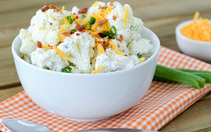 Low Carb Bacon Cheddar Ranch 'Potato' Salad