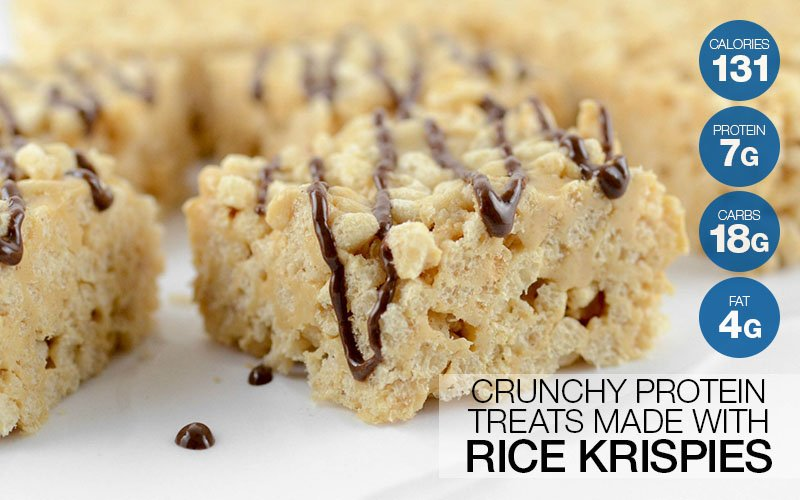 Crunchy Protein Treats Made With Rice Krispies