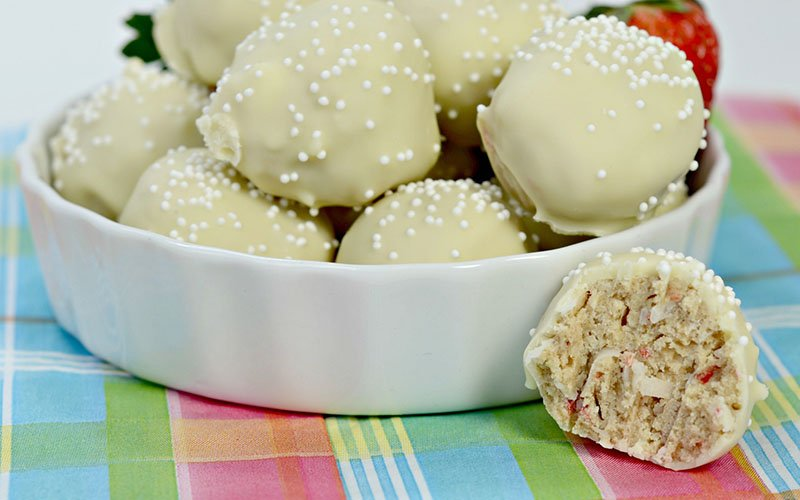 White Chocolate Strawberry Coconut Protein Truffles