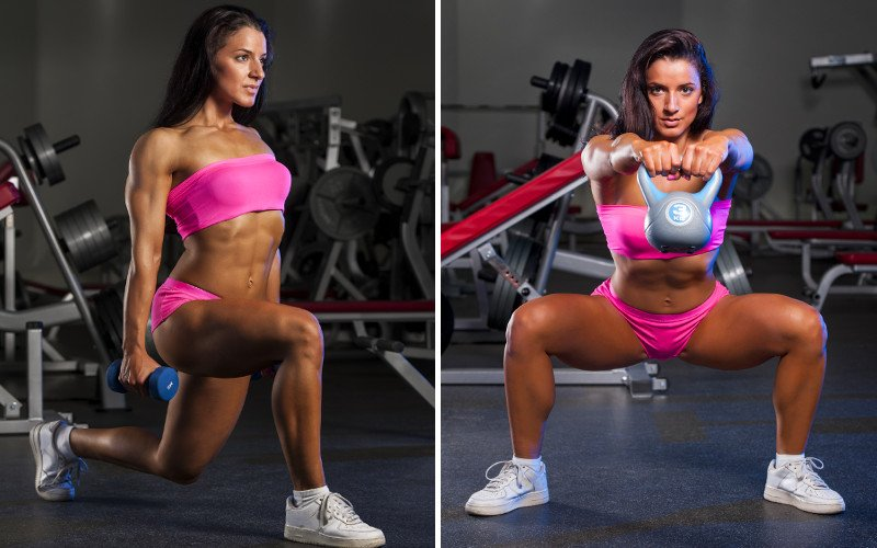 woman performs lunges and squats to build muscle