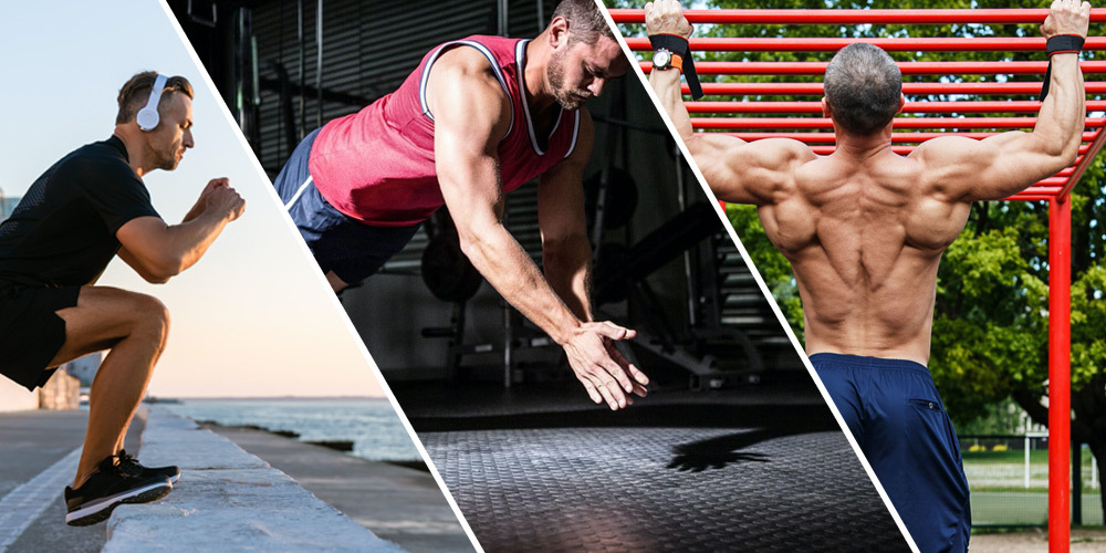athletic men working out outside