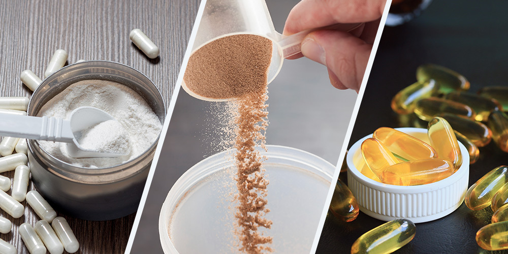 Collage of creatine monohydrate, protein powder and fish oil