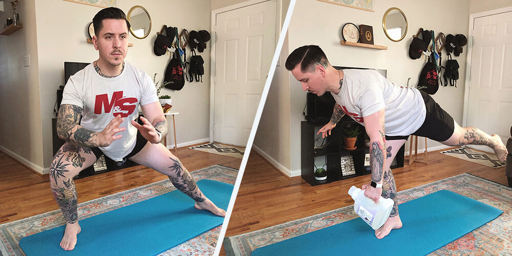 athletic man using household items to workout