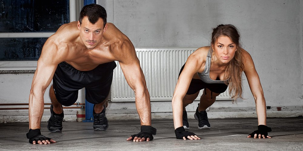 Man and women doing Tabata push up workout