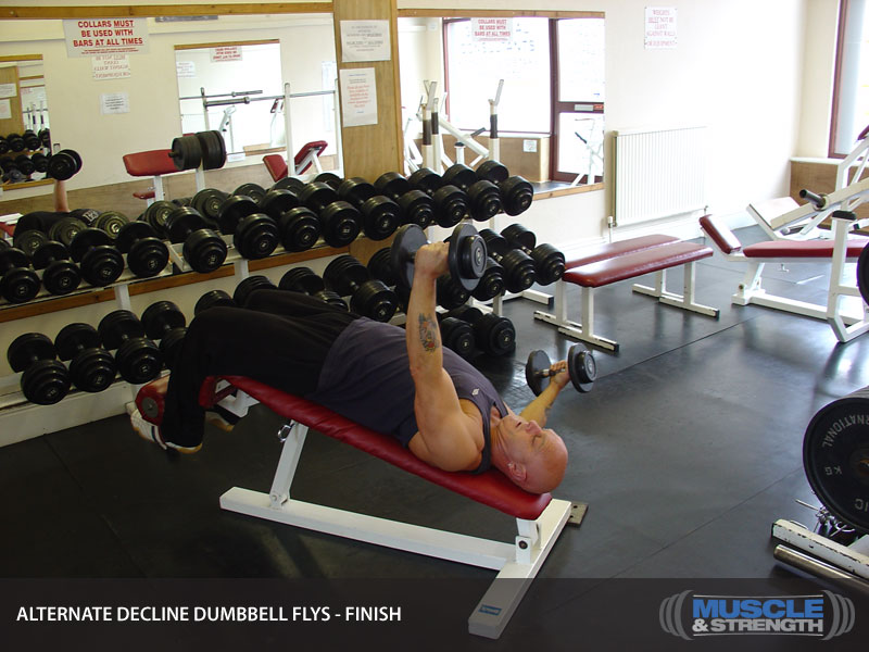 Alternate Decline Dumbbell Flys Video Exercise Guide Tips