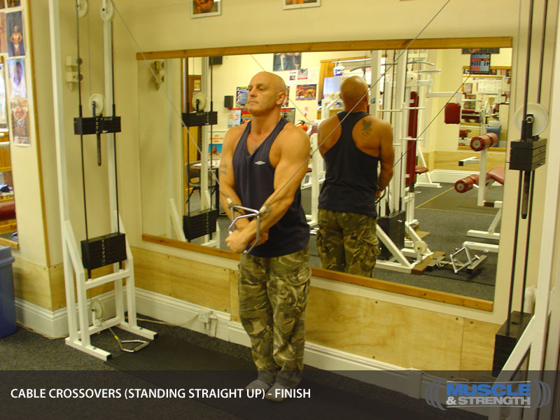 Cable Crossovers Standing Straight Up Video Exercise Guide Amp Tips