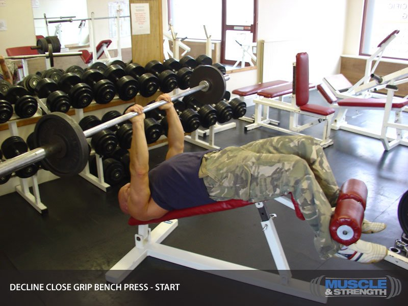 Decline Close Grip Bench Press Video Exercise Guide Amp Tips