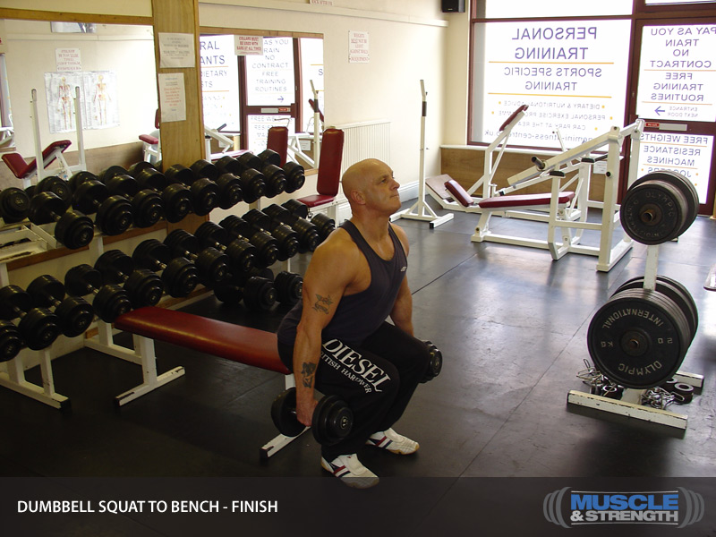 Dumbbell Squat To Bench: Video Exercise Guide & Tips