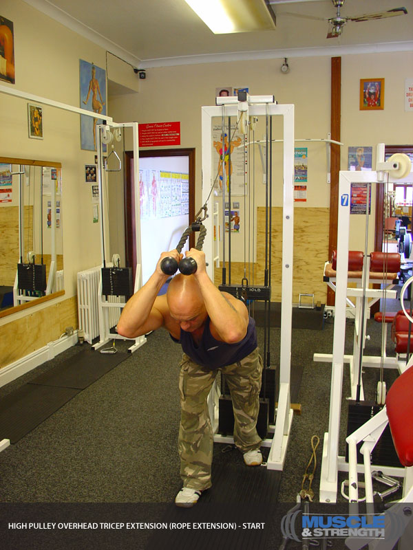High Pulley Overhead Tricep Extension (rope extension ...