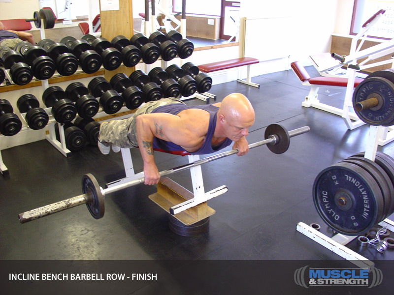 Incline Bench Barbell Row Video Exercise Guide Amp Tips Muscle Amp Strength