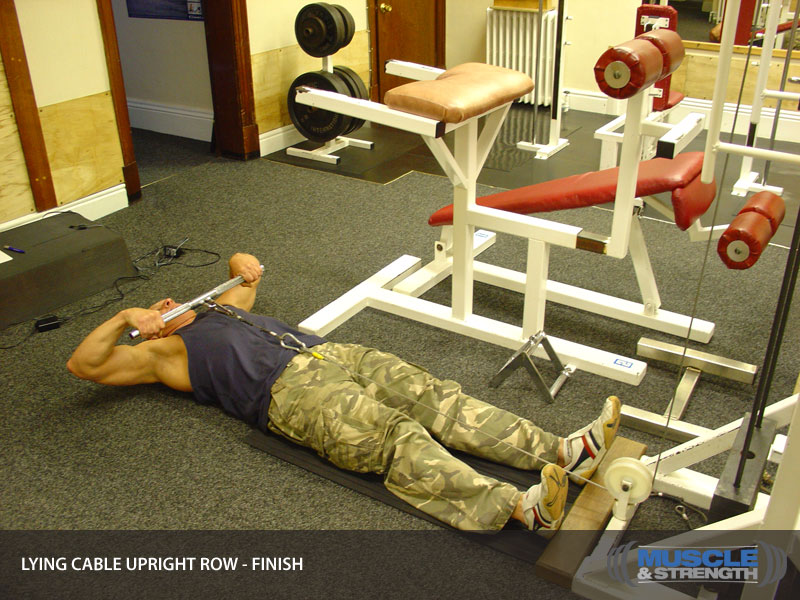 Lying Cable Upright Row Video Exercise Guide Amp Tips