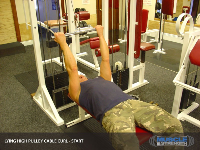 Rope Pulley Curls : Lying high pulley cable curl exercise guide tips
