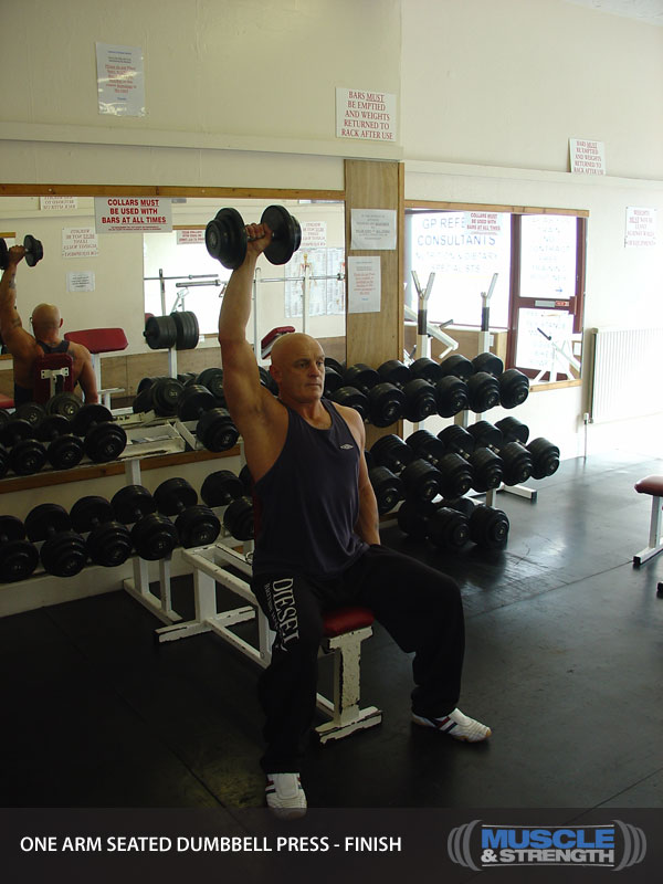 One Arm Seated Dumbbell Press Video Exercise Guide Amp Tips
