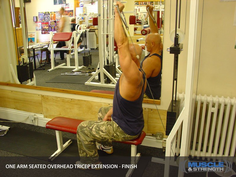 One Arm Seated Overhead Tricep Extension Video Exercise