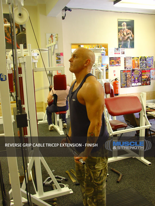 Reverse Grip Cable Tricep Extension: Video Exercise Guide ...
