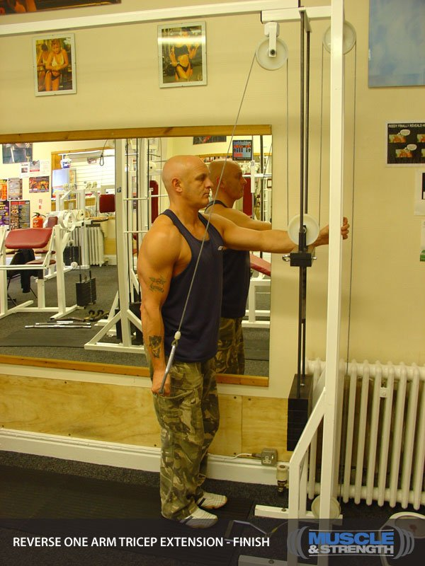 Reverse One Arm Cable Tricep Extension: Video Exercise ...