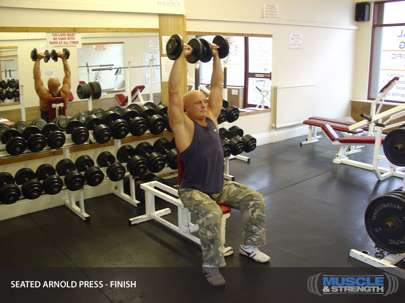 Dumbbells For Sale >> Seated Arnold Press: Video Exercise Guide & Tips