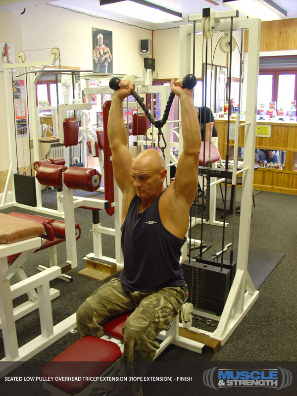 Seated Low Pulley Overhead Tricep Extension Rope