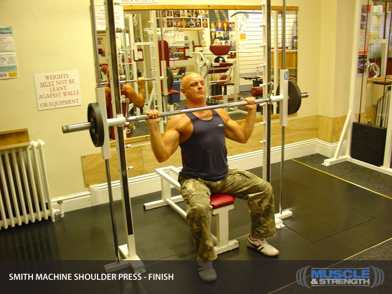 Smith Machine Shoulder Press Video Exercise Guide & Tips ...