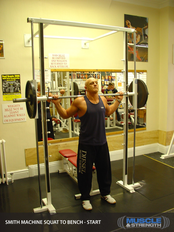 Smith Machine Squat To Bench: Video Exercise Guide & Tips
