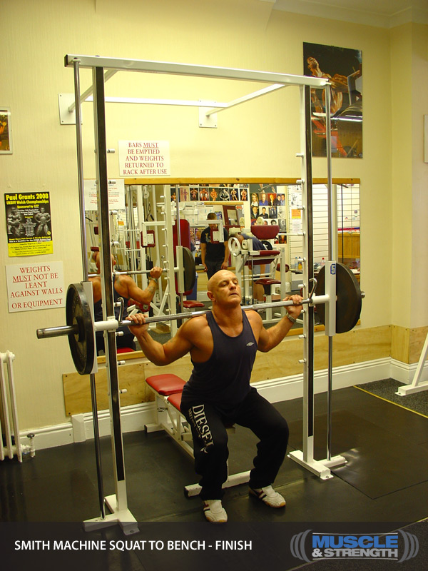Smith Machine Squat To Bench Video Exercise Guide Amp Tips