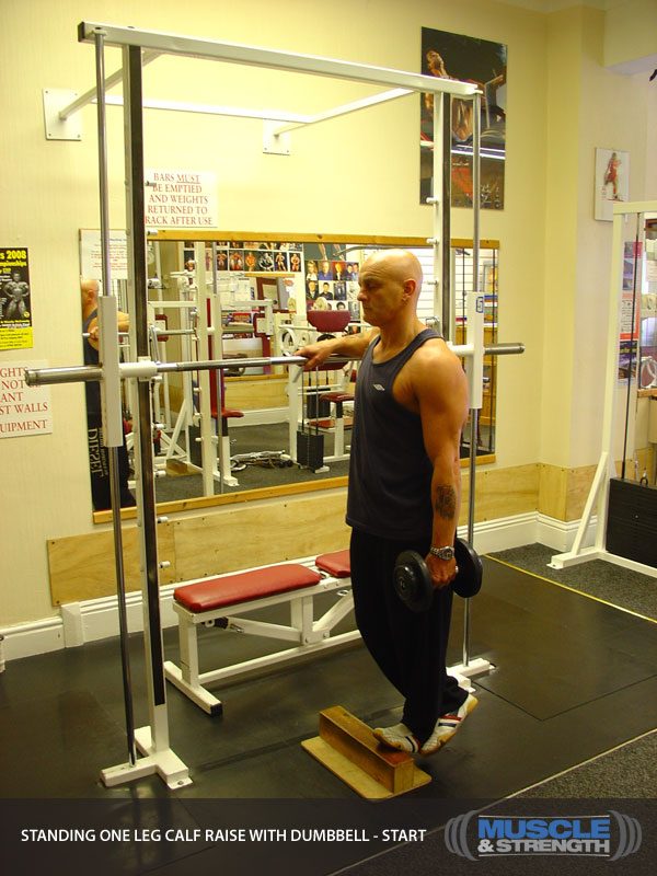Standing One Leg Calf Raise With Dumbbell Video Exercise Guide Tips