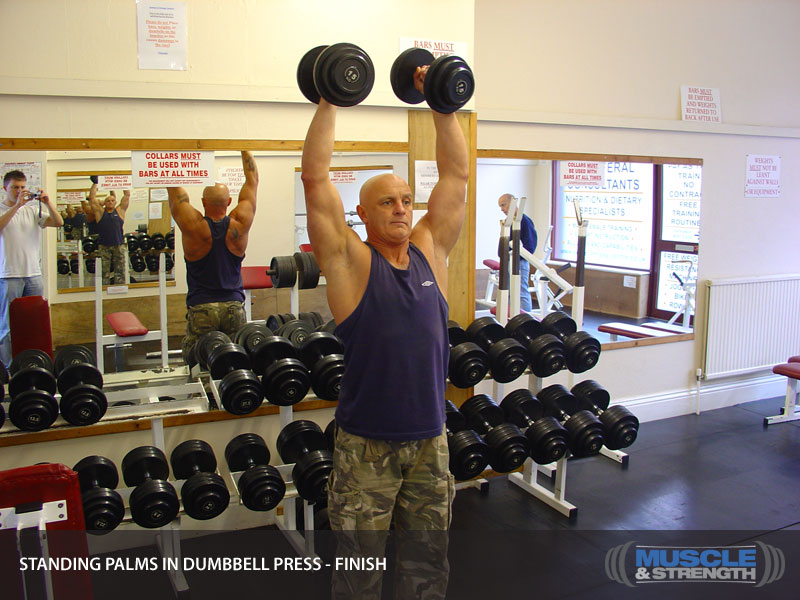 Standing Palms In Dumbbell Press Video Exercise Guide Amp Tips