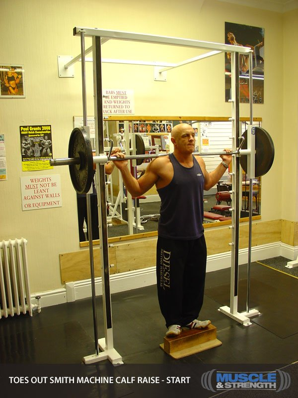 Toes Out Smith Machine Calf Raise Video Exercise Guide Amp Tips