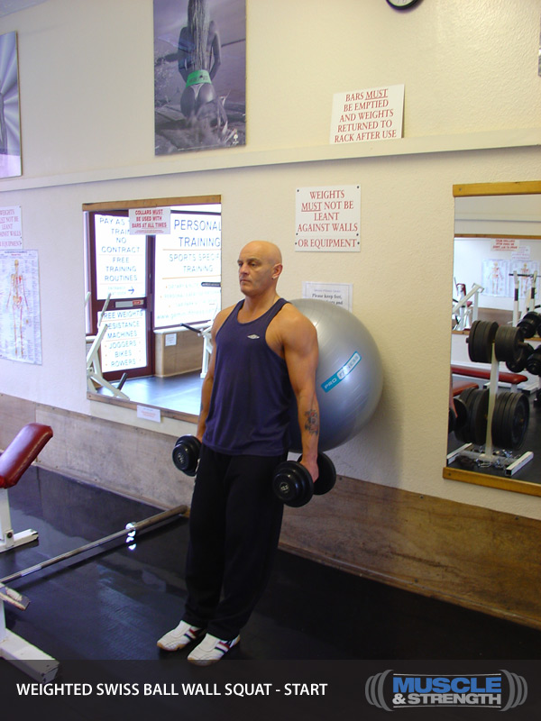 Weighted Exercise Ball Wall Squat: Video Exercise Guide & Tips