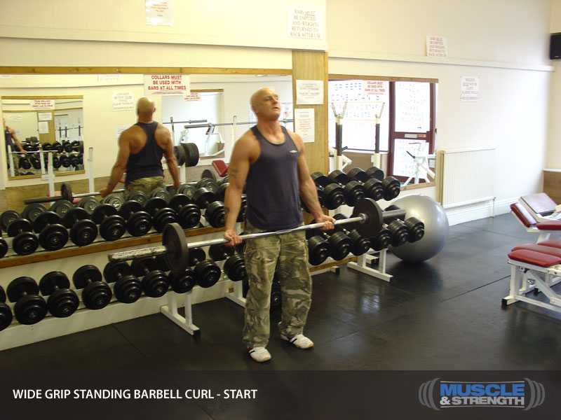 Wide Grip Standing Barbell Curl: Video Exercise Guide & Tips