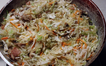 Fried Slaw With Bacon And Mushrooms