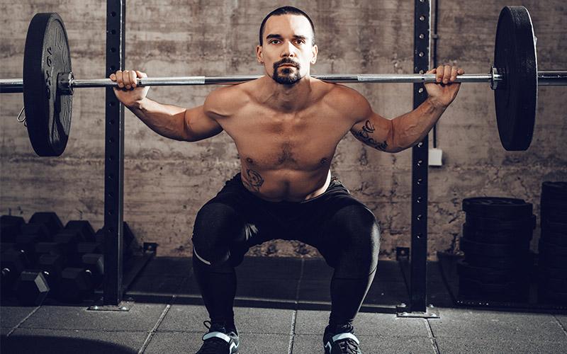 Male Athlete Squatting for Cardio