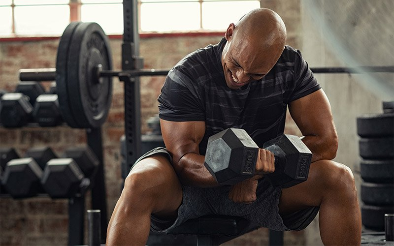 Strong man in black striped shirt performing dumbbell concentration curl