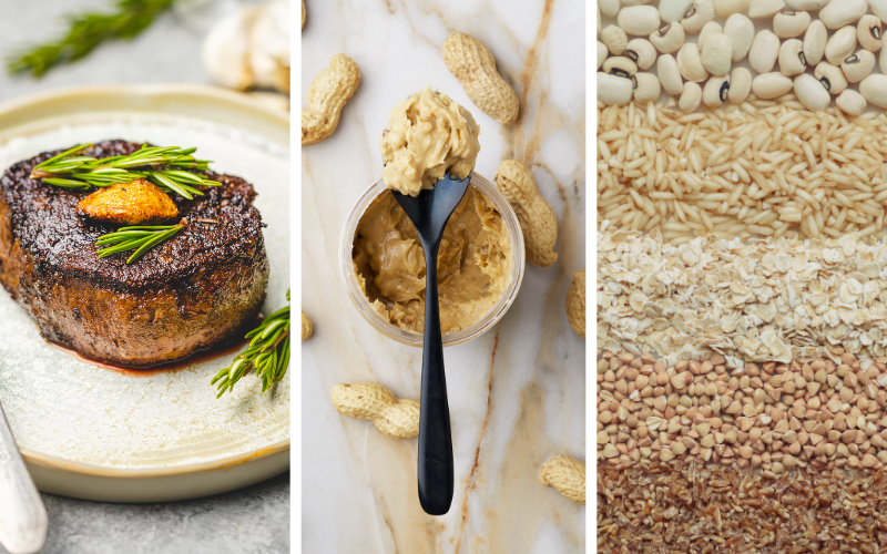 Split image showing steak, peanut butter, and assorted grains.