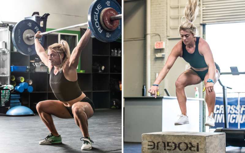 Split image with swolverine athlete in the bottom of a snatch and doing box jumps.