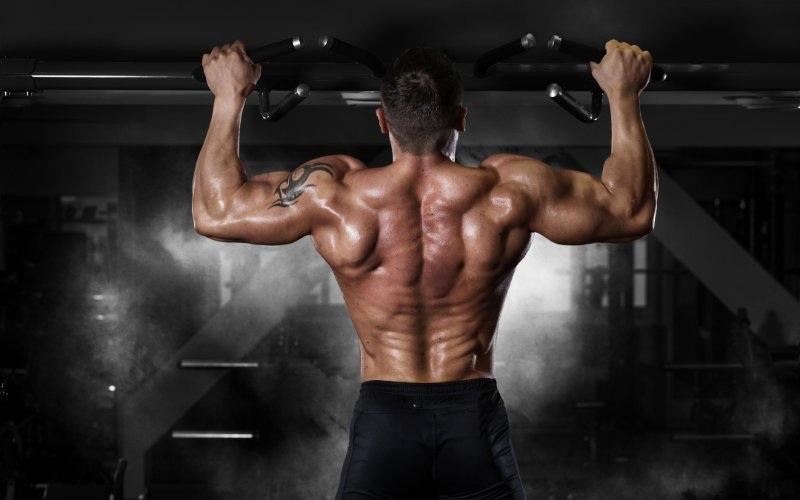 Backside of shirtless, muscular man doing pullups in a gym.