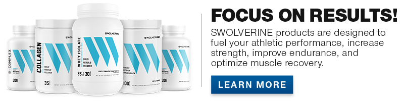 Swolverine product lineup banner.