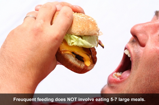 Frequent feeding does not involve eating 5-7 LARGE meals.