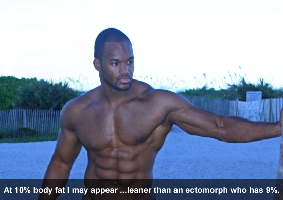 at 10% body fat I may appear to be leaner than an ectomorph who has 9% bodyfat