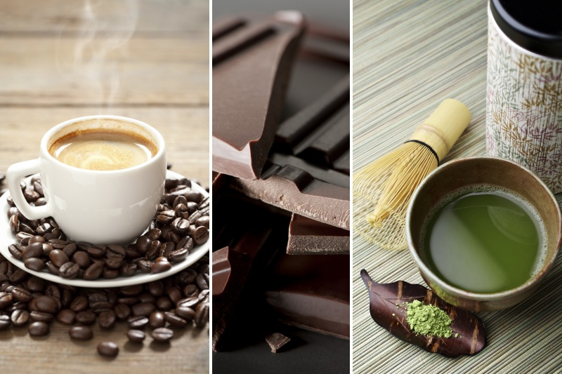 Coffee, Chocolate and Green Tea