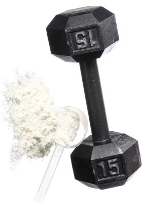 Protein Powder and Dumbbell