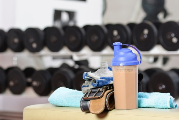 Shaker bottle with protein shake.