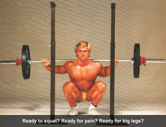 Squats pain, big legs.