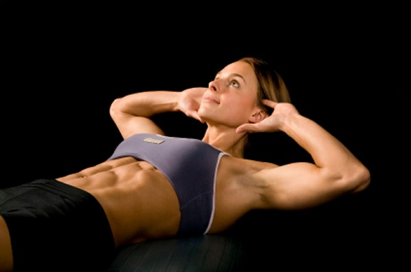 Woman working her abs