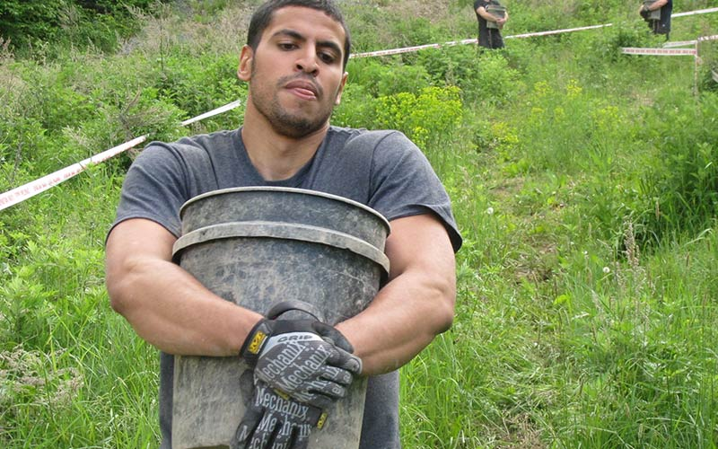 Obstacle Course Race Bucket Carry