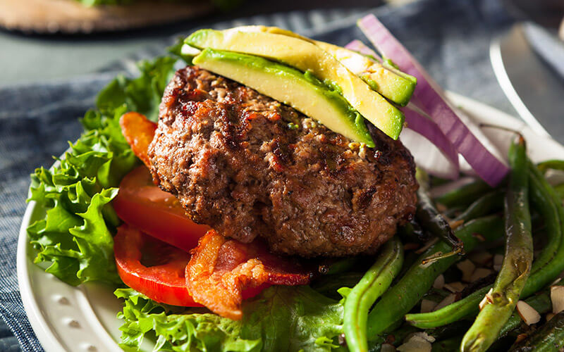 Bunless Burger that is part of the Keto Diet Plan