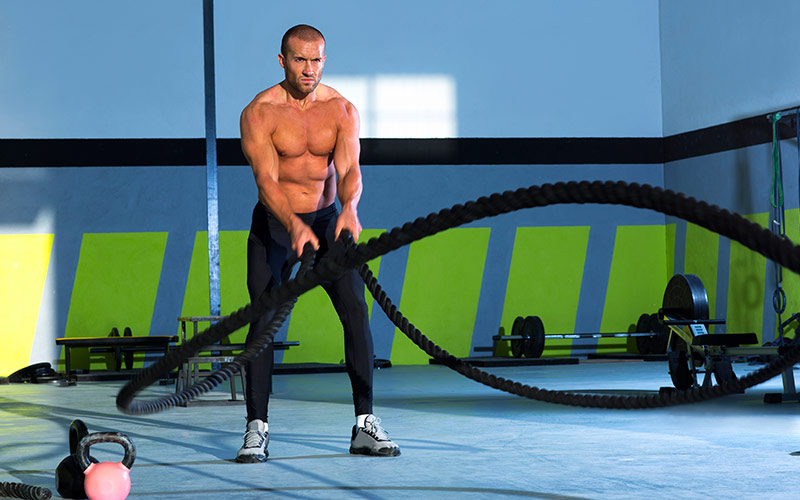 Cardio for Fat Loss: Full body fat burn with battling ropes